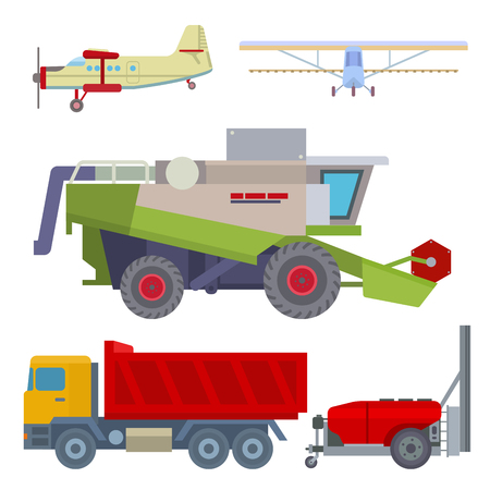 Agriculture harvest machine vector industrial farm equipment tractors transport combines and machinery excavator illustration.