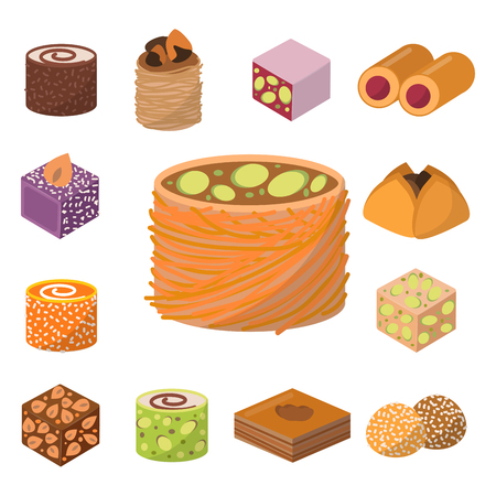 Sweets east delicious dessert food vector confectionery homemade assortment chocolate cake tasty bakery sweetness delights illustration Stock Vector - 103124546