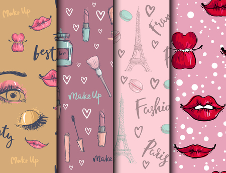 Fashion cosmetics accessories seamless pattern vector colors bright pink stylish fashioned vintage motive pastel illustration. Stok Fotoğraf - 103124547