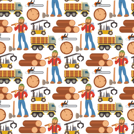 Sawmill woodcutter character logging equipment lumber machine industrial wood timber forest seamless pattern background vector illustration.