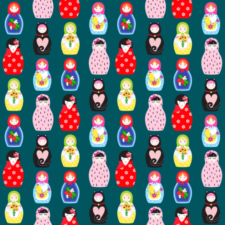 Matryoshka vector traditional russian nesting doll toy with handmade ornament figure pattern with child face and babushka woman souvenir seamless pattern background illustration.