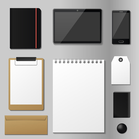 Corporate identity mock-up vector premium template set business office stationery realistic 3d mockup top view branding illustration. Card brand presentation blank. Ilustracja