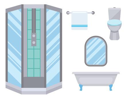Bath equipment icon toilet bowl bathroom clean flat style illustration hygiene design. Stock Vector - 103185037