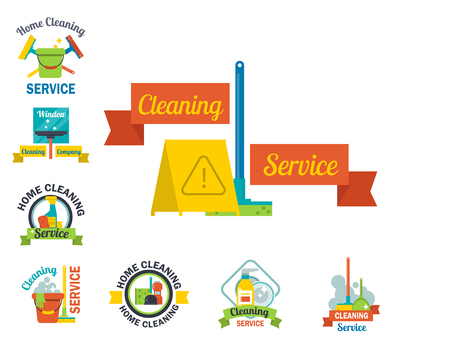 Cleaning service emblems labels and design elements home household symbol work brush vector illustration. Wash worker bin duster floor dirty clean equipment housework sign. Illustration