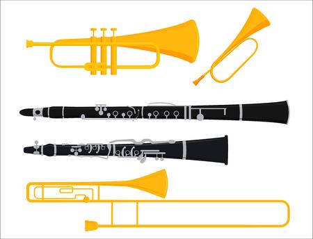Wind muziekinstrumenten hulpmiddelen akoestische muzikant apparatuur orkest vectorillustratie