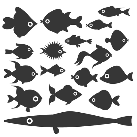 Aquarium ocean fish silhouette underwater bowl tropical aquatic animals water nature pet characters vector illustration