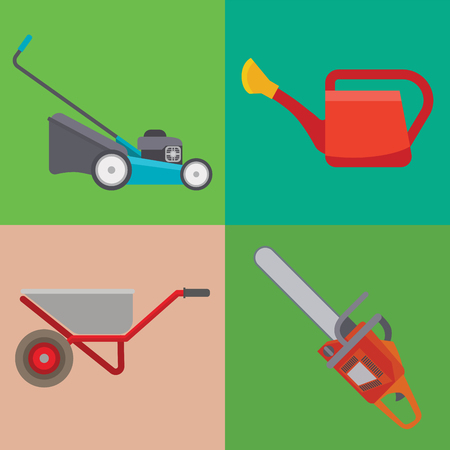 Garden equipment flat set vector gardener character with rake illustration agriculture farming tools Archivio Fotografico - 103185052