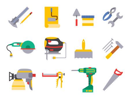 Construction vector worker equipment house renovation handyman tools carpentry industry illustration. Illustration