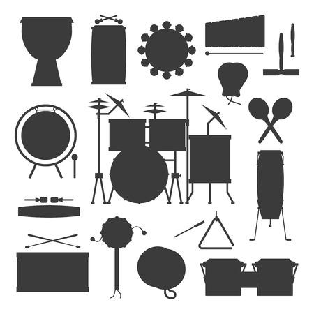 Muzikale drum silhouet hout ritme muziek instrument serie percussie muzikant prestaties vectorillustratie
