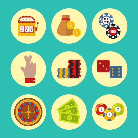 Casino icons set with roulette gambler joker slot machine poker game vector illustration. Illustration