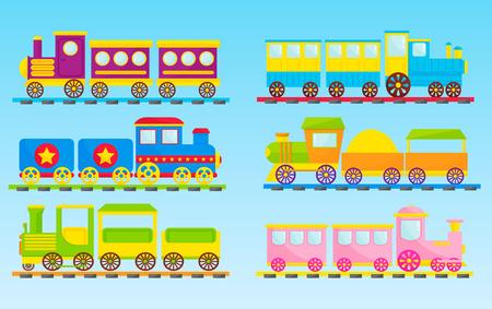 Los niños entrenan el juguete de la historieta del vector con el ejemplo colorido del transporte de los niños del regalo de la alegría del ocio del juego del carro del ferrocarril de los bloques de la locomotora coloridos.