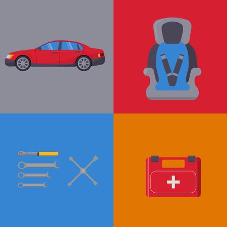 Auto transport vector motorist equipment transportation service car driver tools high detailed repair service illustration. Stock Illustratie