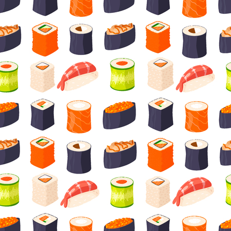 Sushi rolls vector food and japanese gourmet seafood traditional seaweed fresh raw snack illustration seamless pattern background Stock Vector - 103281306