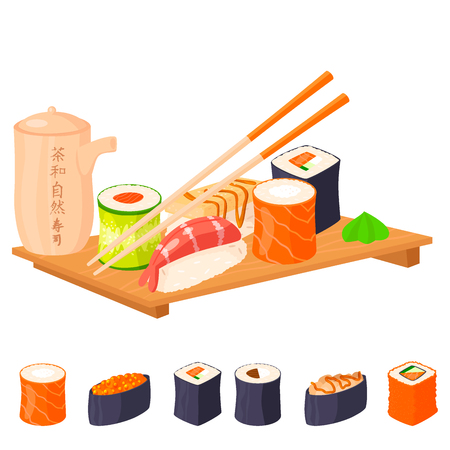 Sushi rolls vector food and japanese gourmet seafood traditional seaweed fresh raw snack illustration Illustration