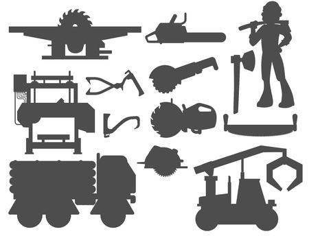 Sawmill woodcutter character logging silhouette equipment lumber machine industrial wood timber forest vector illustration.