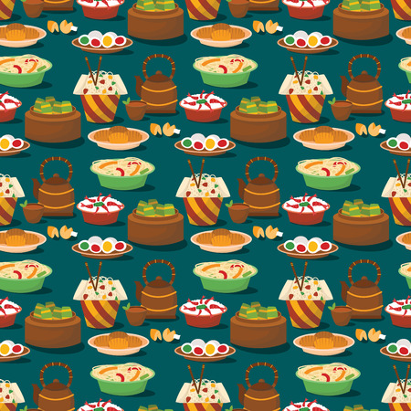 Chinese cuisine tradition food dish delicious asia dinner meal china lunch cooked seamless pattern background vector illustration Illustration