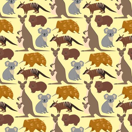Australia wild animals cartoon popular nature characters seamless pattern background flat style mammal collection vector illustration.