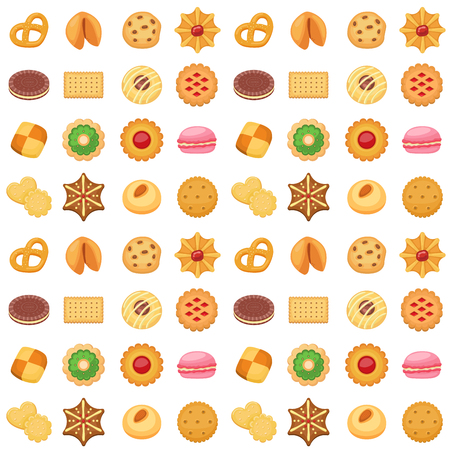 Different cookie cakes seamless pattern background sweet food tasty snack biscuit sweet dessert vector illustration. 스톡 콘텐츠 - 103314668