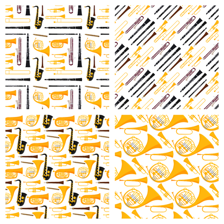 Wind musical instruments tools acoustic musician equipment orchestra seamless pattern background vector illustration