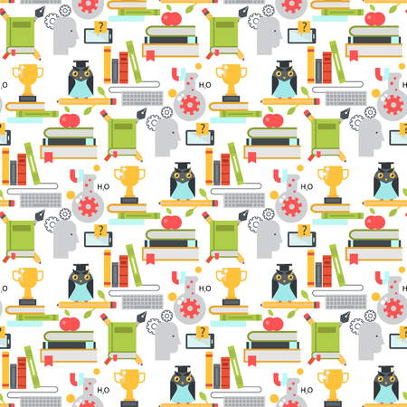 Distant learning seamless pattern background online education video tutorials staff training store learning research knowledge vector illustration. Vectores