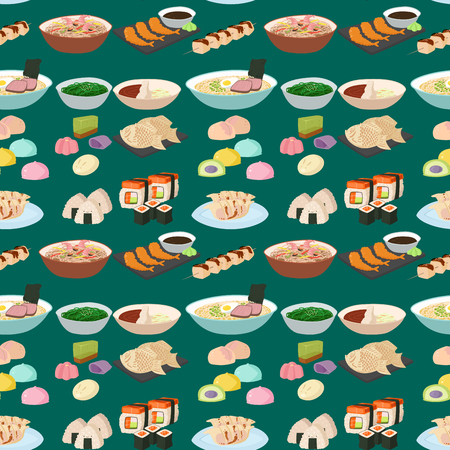 Sushi japanese cuisine traditional food flat healthy gourmet seamless pattern meal culture roll vector illustration. Banque d'images - 103314673