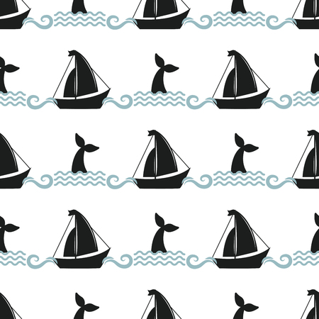 Vector whale illustration seamless pattern humpback ocean marine ship vessel mammal wildlife aquatic animal character. Illustration