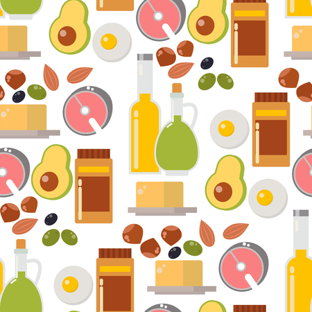 Everyday food common goods organic products seamless pattern background shopping in supermarket vector illustration. Foto de archivo - 103314676