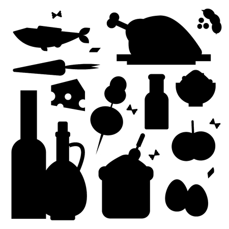 Everyday food common goods black silhouette organic products we get by shopping in supermarket vector illustration.