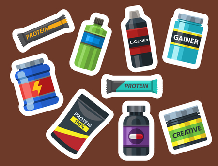 Bodybuilders gym athlete sport food diet symbols fitness nutrition protein powder drink vector illustration.