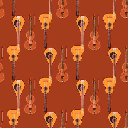 Seamless pattern background stringed musical instruments classical orchestra art sound tool and acoustic symphony stringed fiddle wooden equipment vector illustration