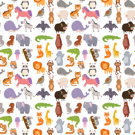 Animals cartoon wildlife nature seamless pattern background jungle texture bird colorful retro wallpaper vector