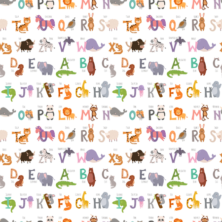 Zoo alphabet with cartoon animals seamless pattern background funny letters wildlife learn typography font language vector illustration. Ilustracja
