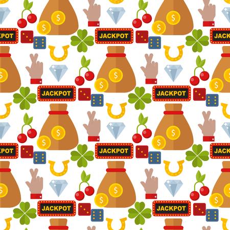 Casino roulette gambler joker slot machine poker game seamless pattern background vector illustration. Stock Vector - 103314691
