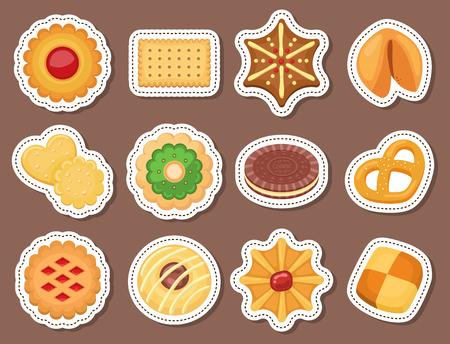 Different cookie cakes top view sweet food tasty snack biscuit sweet dessert vector illustration. Ilustração