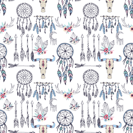 Creative vector boho style frames mady ethnic feathers arrows and floral elements seamless pattern background illustration.