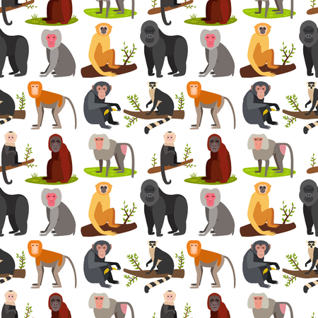 Monkey character animal breads seamless pattern background wild zoo ape chimpanzee vector illustration. Illustration