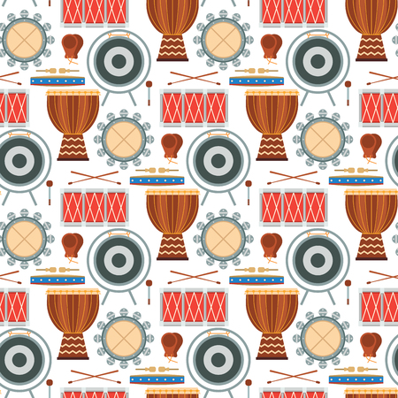 Musical drum wood rhythm music instrument seamless pattern background percussion musician performance vector illustration