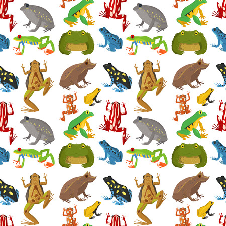 Frog vector cartoon tropical wildlife animal green froggy nature funny illustration toxic toad amphibian seamless pattern background.
