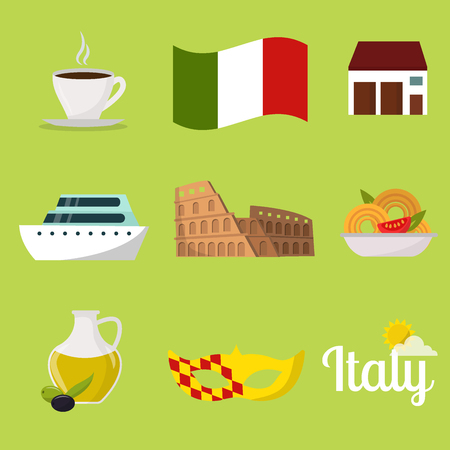 Italy travel vector attraction tourist symbols sightseeing world italian architecture elements illustration.