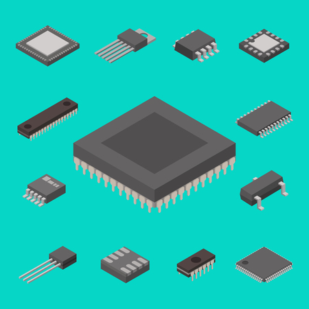 Microchip computer vector isometric chip technology processor circuit electronic board motherboard information system illustration.