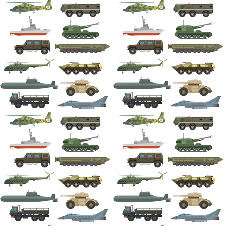 Military transport vector vehicle technic army war tanks and industry armor defense transportation weapon seamless pattern background illustration. Stock Illustratie