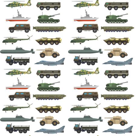 Militair vervoer voertuig technic leger oorlog tanks en industrie pantser verdediging vervoer wapen naadloze patroon achtergrond vectorillustratie.