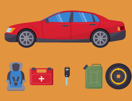 Auto transport vector motorist equipment transportation service car driver tools high detailed repair service illustration. Illustration