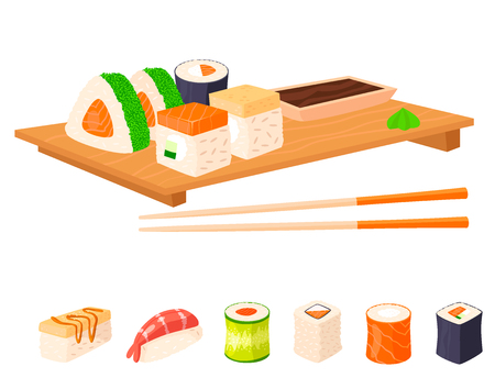 Sushi rolls vector food and japanese gourmet seafood traditional seaweed fresh raw snack illustration Banque d'images - 103505387