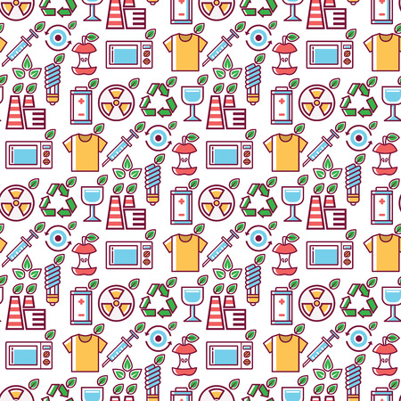 Waste vector rubbish pollution ecology recycling eco energy concept garbage disposal trash seamless pattern background illustration  イラスト・ベクター素材
