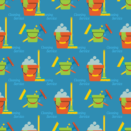 Cleaning vector service design home household work brush seamless pattern background illustration.