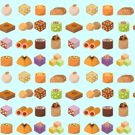 Sweets east delicious dessert food vector confectionery homemade assortment chocolate cake tasty bakery sweetness delights illustration. Delightful bake homemade snack seamless pattern background.