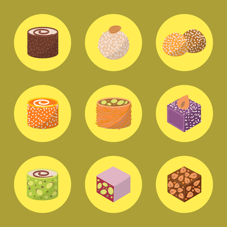 Sweets east delicious dessert food vector confectionery homemade assortment chocolate cake tasty bakery sweetness delights illustration. Delightful bake homemade snack. Illustration