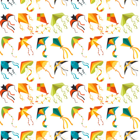 Flying kite snake serpent dragon kids toy colorful outdoor summer activity seamless pattern background vector illustration