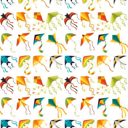 Vliegende vlieger slang slang draak kinderen speelgoed kleurrijke buiten zomer activiteit naadloze patroon achtergrond vectorillustratie